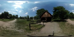 360Vr Video Barn Wooden Stable in Old Village Rustic Houses Courtyards Are Stock Footage