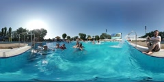 360Vr Video Kids Father in Aqua Park Opole Opening Day Happy Kids Are Swimming Stock Footage