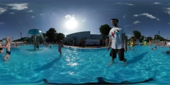 360Vr Video Man Walking in Pool Aqua Park Opole Opening Day Happy Kids Are - stock footage