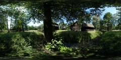 360Vr Video Lake Houses Cottages Old Village Shadow From Trees Rustic Houses - stock footage