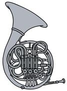 Classic hunting horn - stock illustration