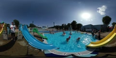 360Vr Video Kids on Chutes Aqua Park in Opole Opening Day Man Walking Happy Stock Footage