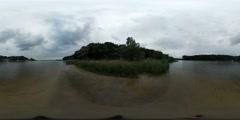 360Vr Video Green Bank of River Sea Rippling Water Coastline Seaside Island Stock Footage