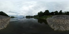 360Vr Video Bay River Lake Stony Bank Wood Lake Sky Reflection in Smooth Water Stock Footage