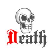 Gothic skull icon for Halloween mascot design Stock Illustration