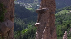 Detail of rocks pending from the Earth Pyramids Stock Footage