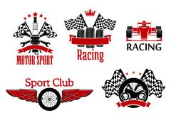 Motorsport symbols for auto racing design - stock illustration