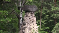 Detail of Earth Pyramid with big boulder on top Stock Footage