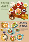 National cuisine of Turkey and Israel flat icon - stock illustration
