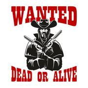 Wanted dead or alive poster with armed cowboy Stock Illustration