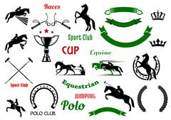 Equestrian sports design elements with horses Stock Illustration