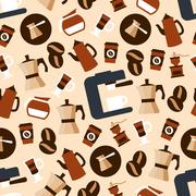 Seamless espresso coffee beverages pattern Stock Illustration