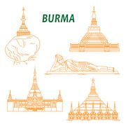 Ancient buddhist temples of Burma thin line icons Stock Illustration