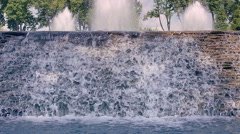 Waterfall closeup. River waterfall. Water falling down over stone cascade - stock footage