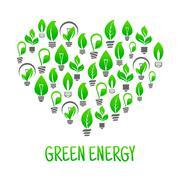 Saving energy icon with heart made of light bulbs - stock illustration