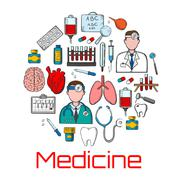 General medicine and healthcare sketches Stock Illustration