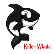 Cartoon black and white killer whale or orca - stock illustration