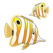 Cartoon tropical marine butterflyfish character - stock illustration