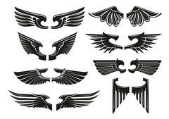 Spread heraldic wings black icons - stock illustration