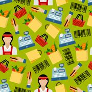 Seamless background of grocery shopping pattern - stock illustration