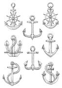 Engraving sketched anchors with helms and ropes Stock Illustration