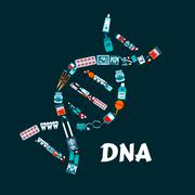 DNA helix with pharmaceutical, medicine flat icons Stock Illustration