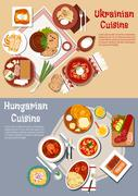 Hearty ukrainian and hungarian dinners flat icon - stock illustration