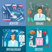 Dentistry, urology, ophthalmology, dietetics icons - stock illustration