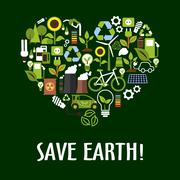 Heart with ecology, saving energy, recycling icons - stock illustration
