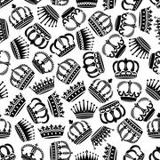 Seamless victorian royal crowns pattern background Stock Illustration