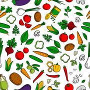 Vegetable salad ingredients seamless pattern - stock illustration