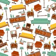 Seamless retro home furniture pattern background - stock illustration