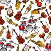 Seamless pattern of orchestra musical instruments Stock Illustration