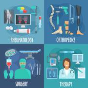 Surgery, therapy, orthopedic, rheumatology icons Stock Illustration