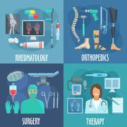 Surgery, therapy, orthopedic, rheumatology icons - stock illustration
