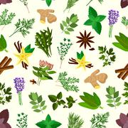 Fresh spicy herbs and condiments seamless pattern - stock illustration