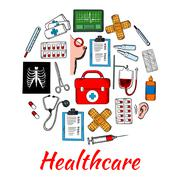 Medical and healthcare icons arranged into circle Stock Illustration