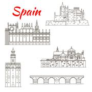 Spanish attractions icon for tourism design - stock illustration