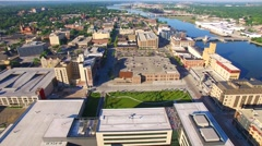 Beautiful downtown Green Bay Wisconsin with Fox River Stock Footage