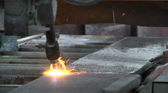Processing of granite slabs fire Stock Footage