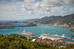 Bay and Port of St. Thomas in US Virgin Islands Stock Photos