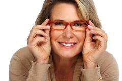 Senior business woman portrait with eyeglasses. Stock Photos