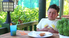 Over eating child having abdominal pain Stock Footage