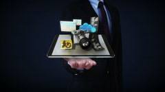 Businessman open palms, photo, camera application social media contents, front. Stock Footage