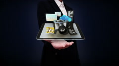 Businesswoman open palm, photo, camera application social media contents. Stock Footage