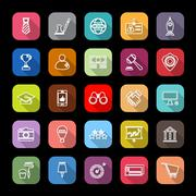 SME line icons with long shadow - stock illustration