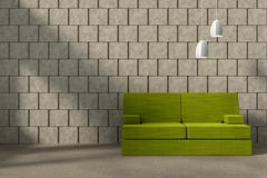 Concrete Wall with Couch and Lamp, 3D Rendering - stock illustration