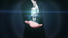 Businesswoman open palms, Rotating transparency 3D robot body. Stock Footage