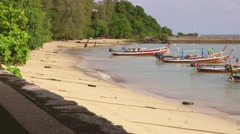 Sky and Sand of Beach Andaman Sea. White clouds and traditional Thai boats - - stock footage
