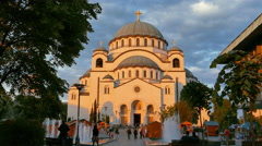 Sveti Sava (Saint Saba) Cathedral in Belgrade (Beograd) Serbia Shot in Sunset Stock Footage